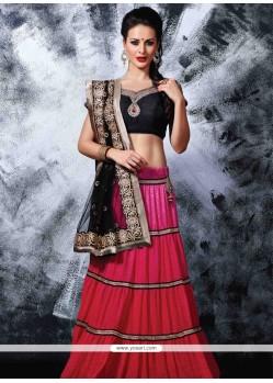 Splendid Pink And Black Resham Work Net Lehenga Choli
