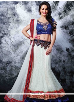 Epitome Off White And Blue Embroidery Work Lehenga Choli