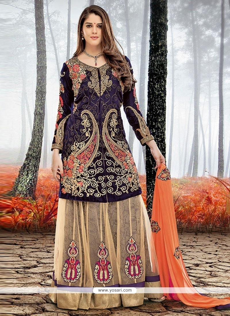 Charismatic Blue And Beige Color Net Designer Lehenga Choli
