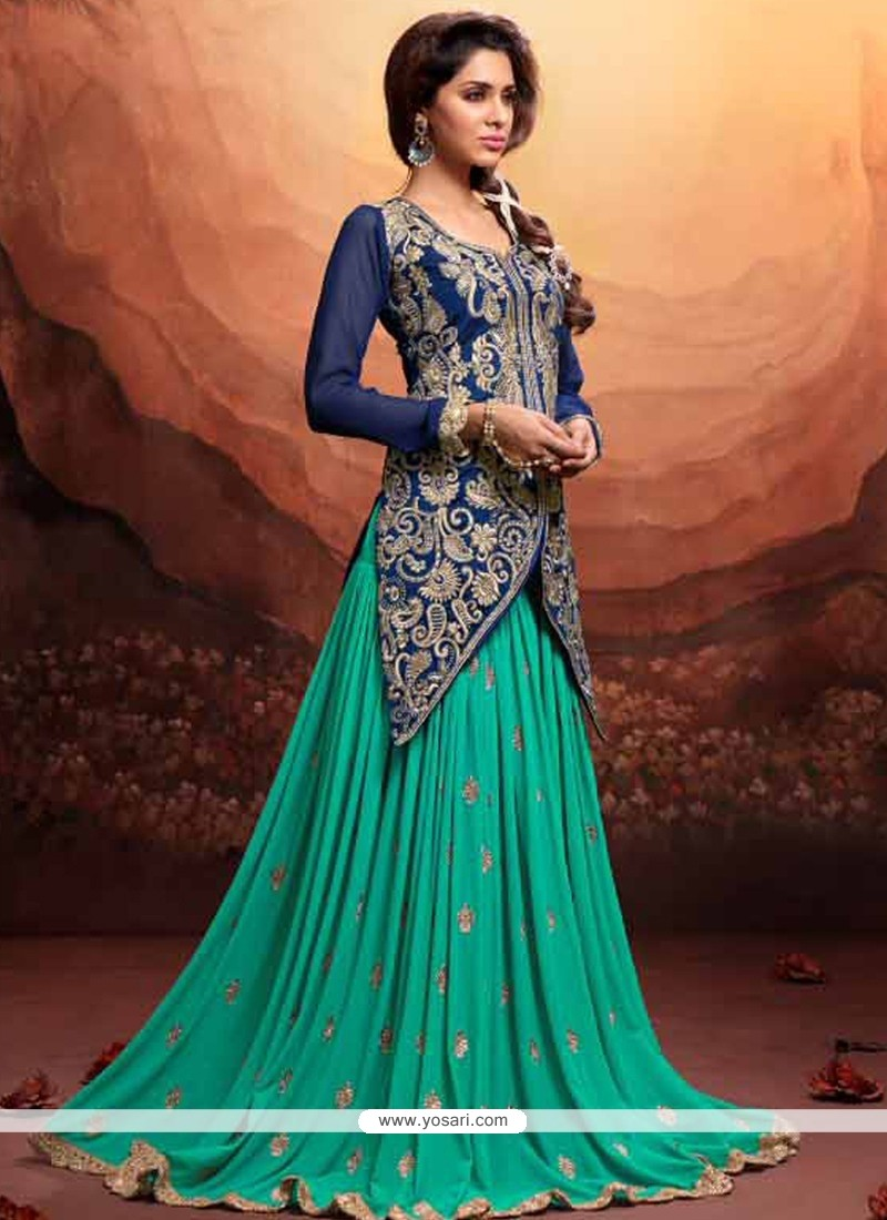 Teal And Blue Embroidery Work Net Lehenga Choli