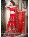 Lustrous Red Velvet A-Line Bridal Lehenga Choli