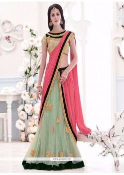 Ideal Pink And Sea Green Lehenga Saree