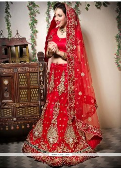 Imperial Red Net Wedding Lehenga Choli