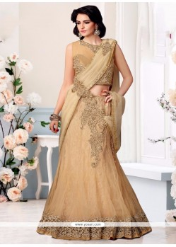 Exotic Net Embroidered Work Lehenga Saree