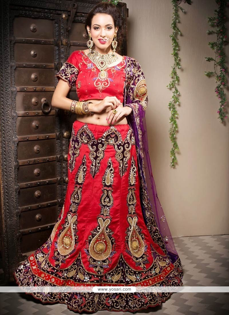 Flawless Red Silk Fish Cut Lehenga Choli