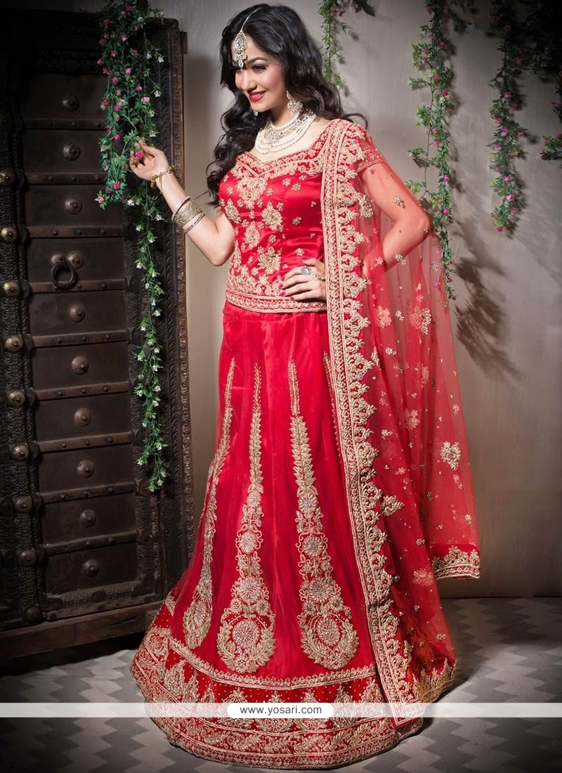Red Net A-Line Bridal Lehenga Choli