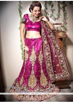 Magenta Net Bridal Lehenga Choli
