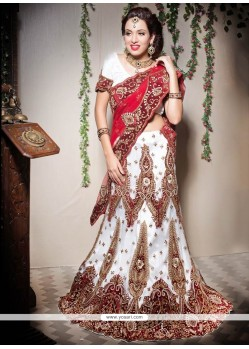 Excellent White And Red Net Bridal Lehenga Choli