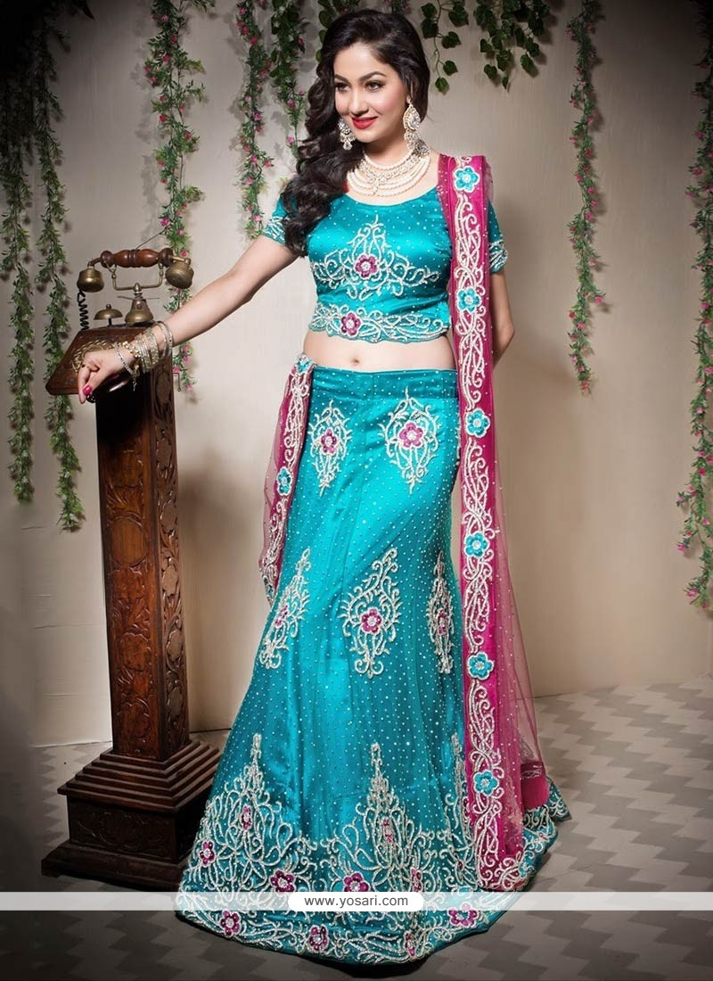Turquoise Shaded Beads Net Wedding Lehenga Choli