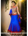 Blue And Red Stone Net Wedding Lehenga Choli