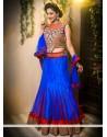 Blue And Red Stone Net Wedding Lehenga Choli