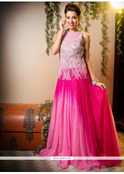 Delightful Pink Shade Net Long Gown Lehenga Choli