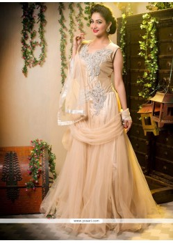 Competent Cream Net Stone Long Gown Lehenga Choli