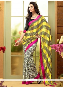 Opulent Off White And Yellow Shaded Georgette Saree