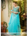 Turquoise Blue Shaded Net Long Gown Lehenga Choli