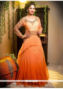 Blooming Orange And Peach Shaded Net Wedding Lehenga Choli