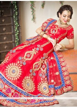 Beauteous Red Net Bridal Lehenga Choli