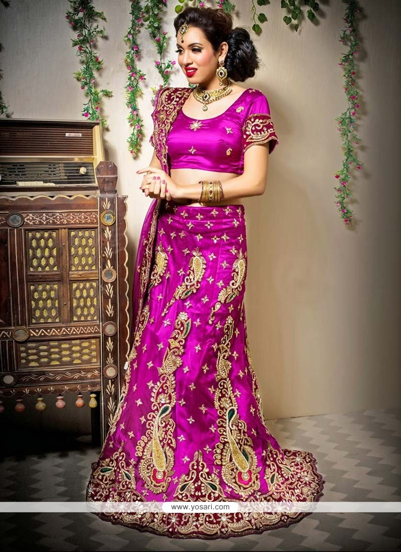 Magenta Net A-Line Wedding Lehenga Choli