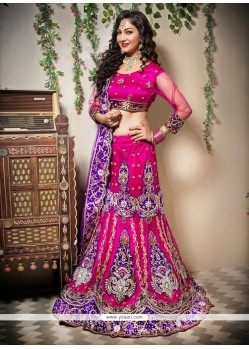 Genius Pink Shade Net Fish Cut Lehenga Choli
