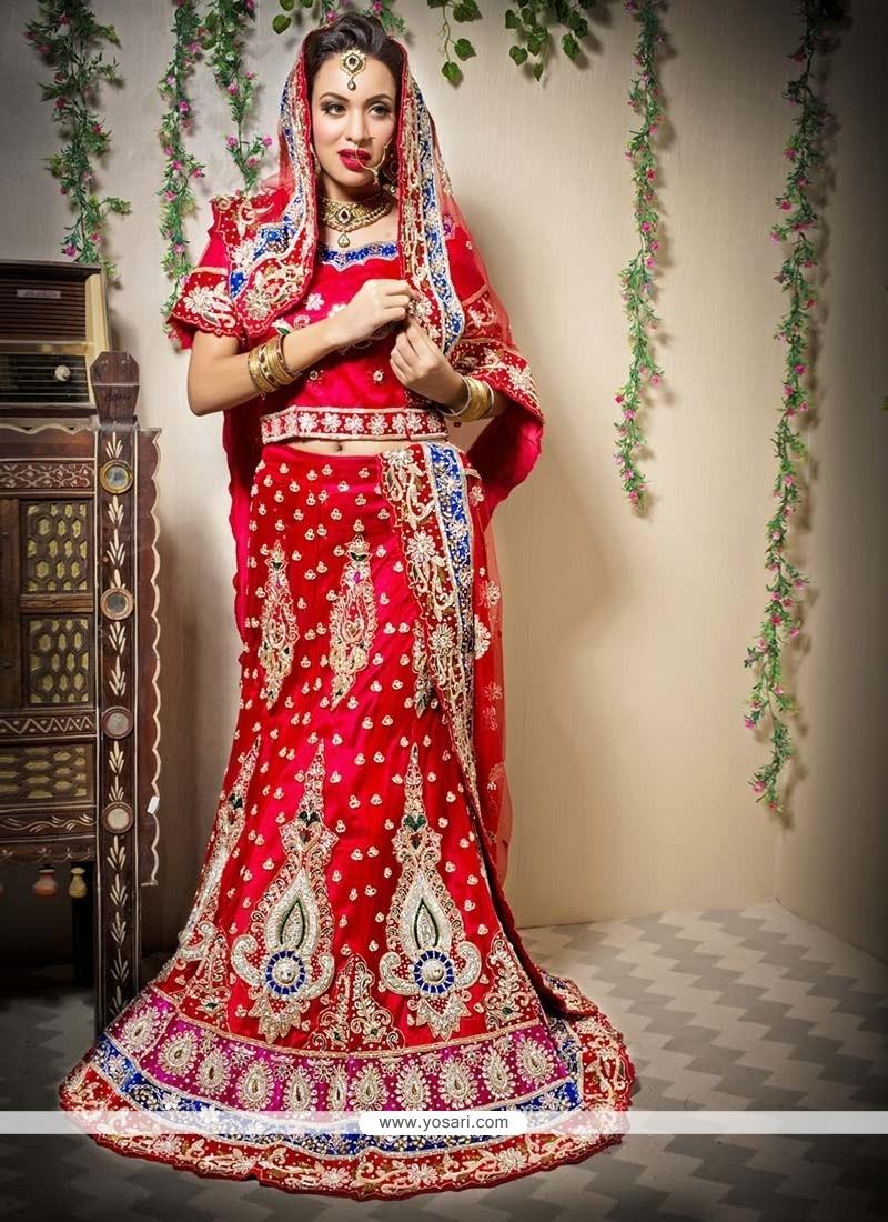Gorgeous Red Net Fish Cut A-Line Wedding Lehenga Choli