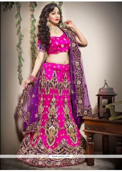 Radiant Pink Net Fish Cut A-Line Lehenga Choli