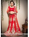 Red Cutdana Work Net Lehenga Choli