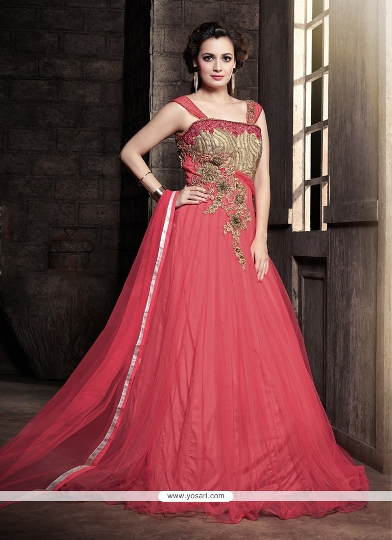 Shop online Splendid Hot Pink Resham Work Designer Gown