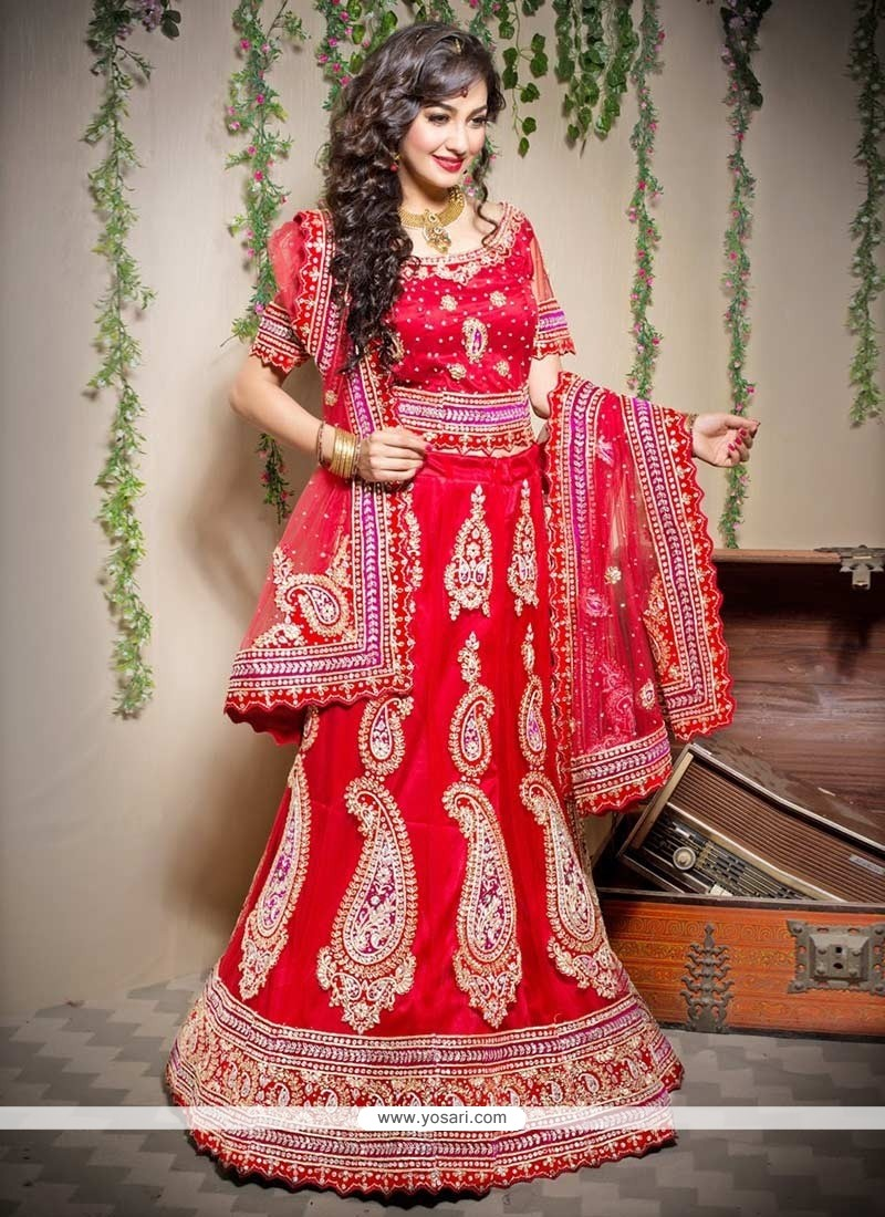Opulent Red Net A-Line Wedding Lehenga Choli