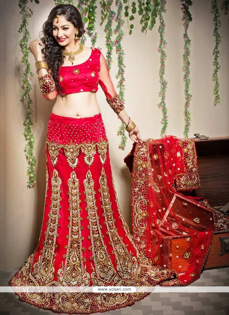 Red Resham Work Fish Cut Lehenga Choli