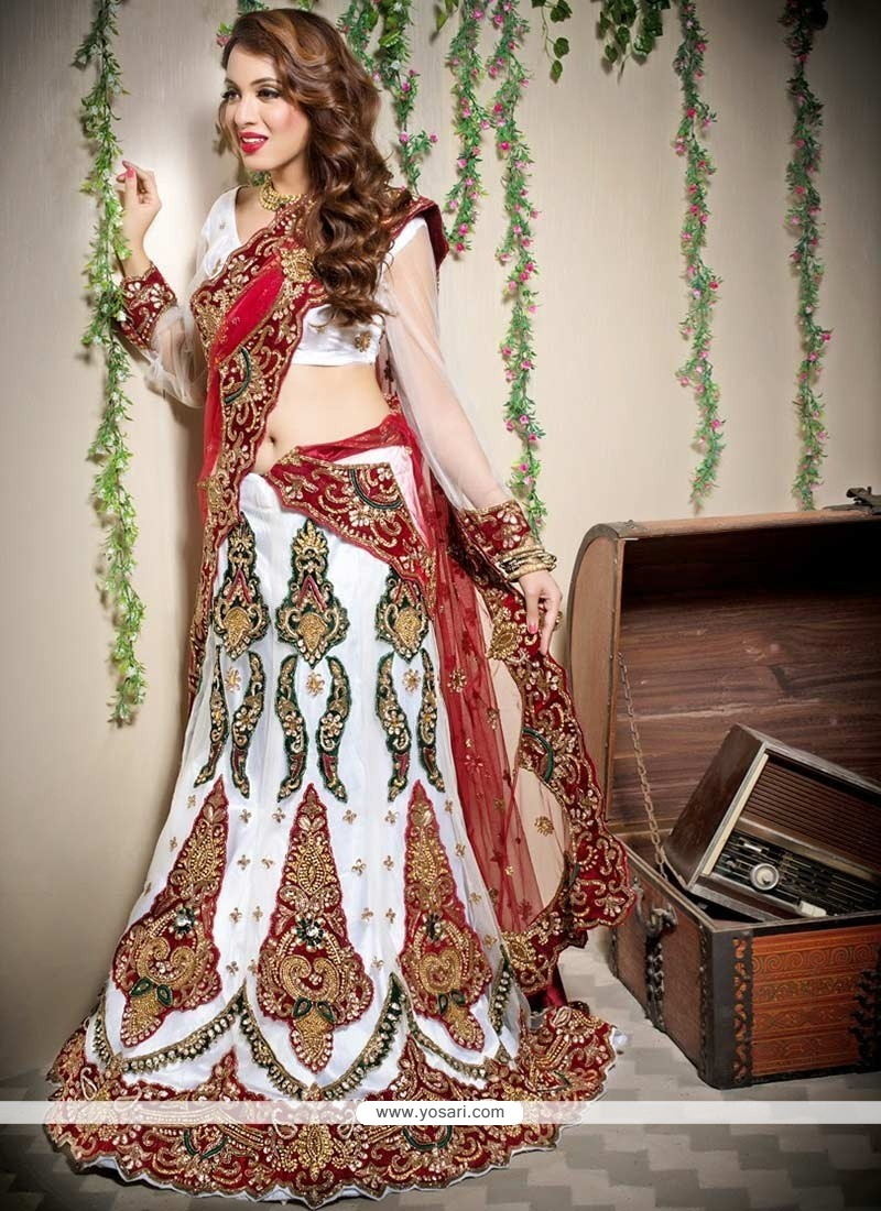 White And Maroon Net Bridal Lehenga Choli