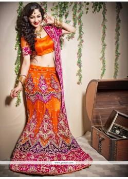 Markable Orange Net Fish Cut Designer Lehenga Choli