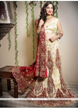 Magical Cream Stone Fish Cut Lehenga Choli