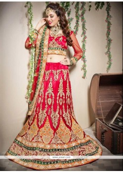 Red Net Fish Cut Lehenga Choli
