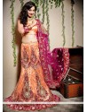 Fab Peach Net Fish Cut Designer Lehenga Choli