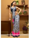 Pristine Grey Rose Printed Faux Georgette Saree