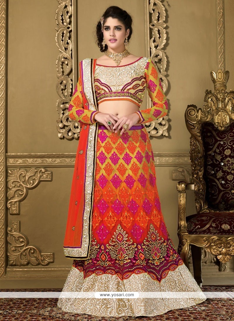Markable Yellow And Orange Net Embroidered Lehenga Choli