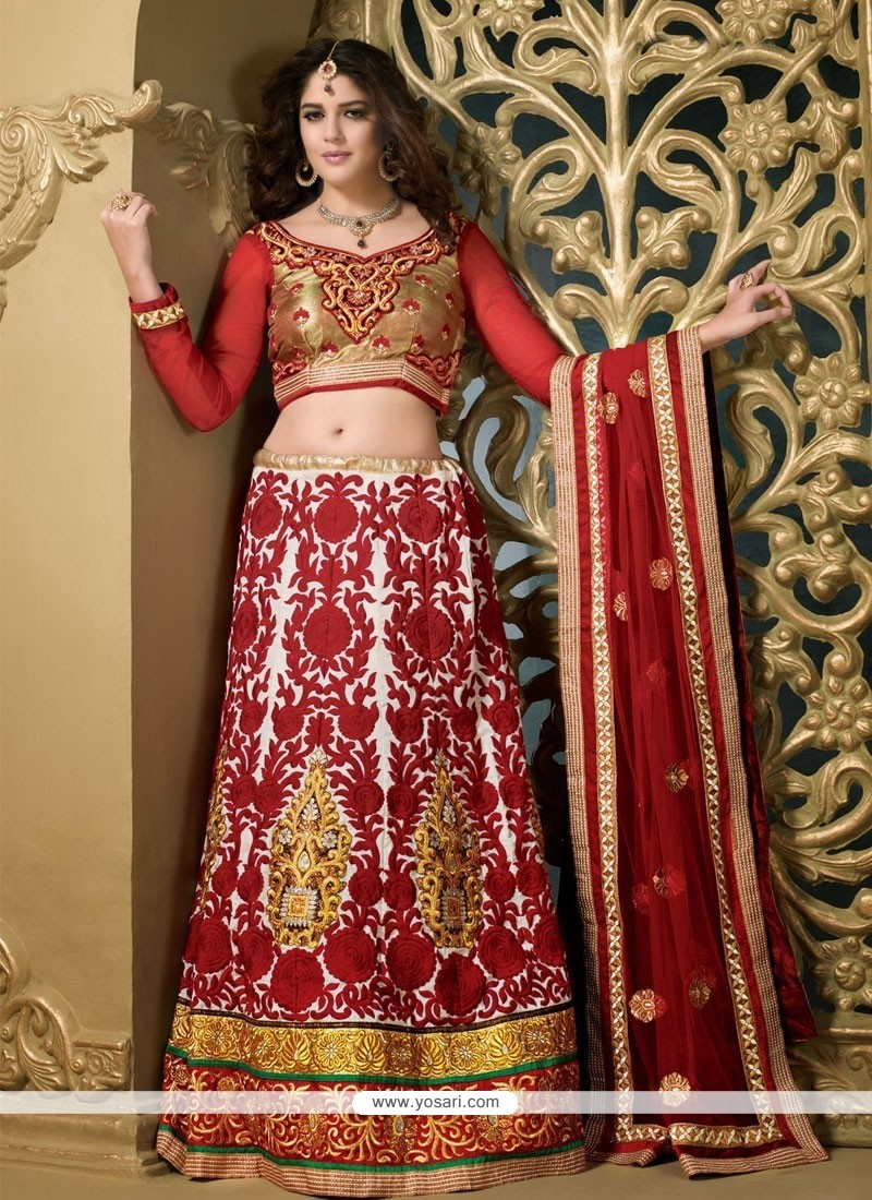 Invigorating Off White And Red Silk Heavy Embroidered Lehenga Choli