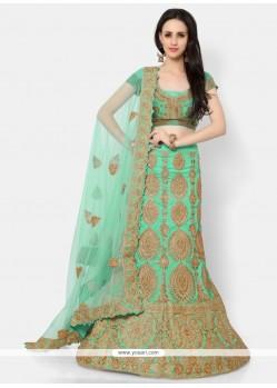 Exquisite Turquoise Resham Work A Line Lehenga Choli
