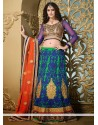 Galvanizing Green And Blue Net Lehenga Choli