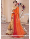 Floral Beige and Orange Embroidered Work Designer Saree