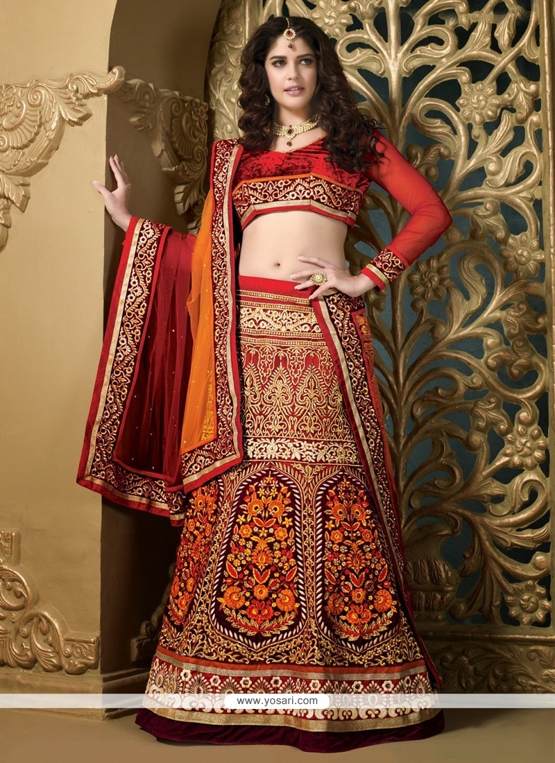 Epitome Red And Wine Net Heavy Embroidered Lehenga Choli