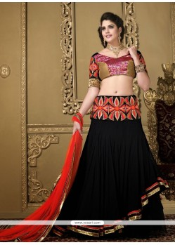 Competent Black Net Patch Work Lehenga Choli