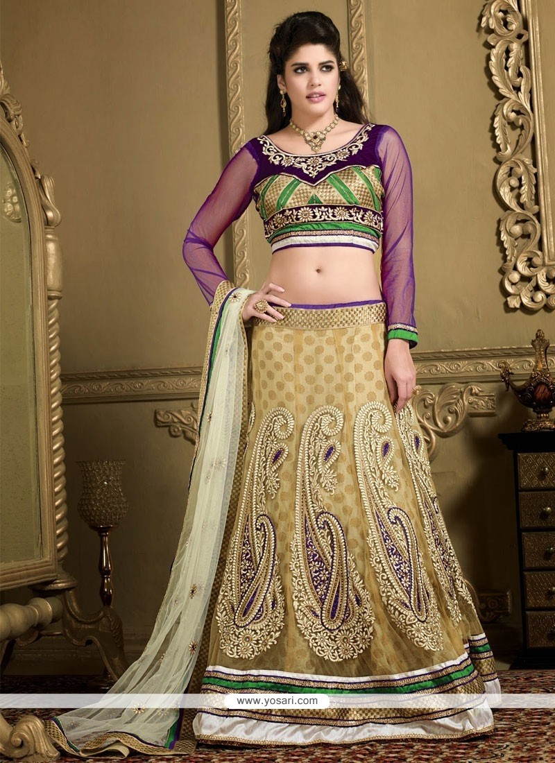 Bedazzling Beige Net Embroidered Lehenga Choli