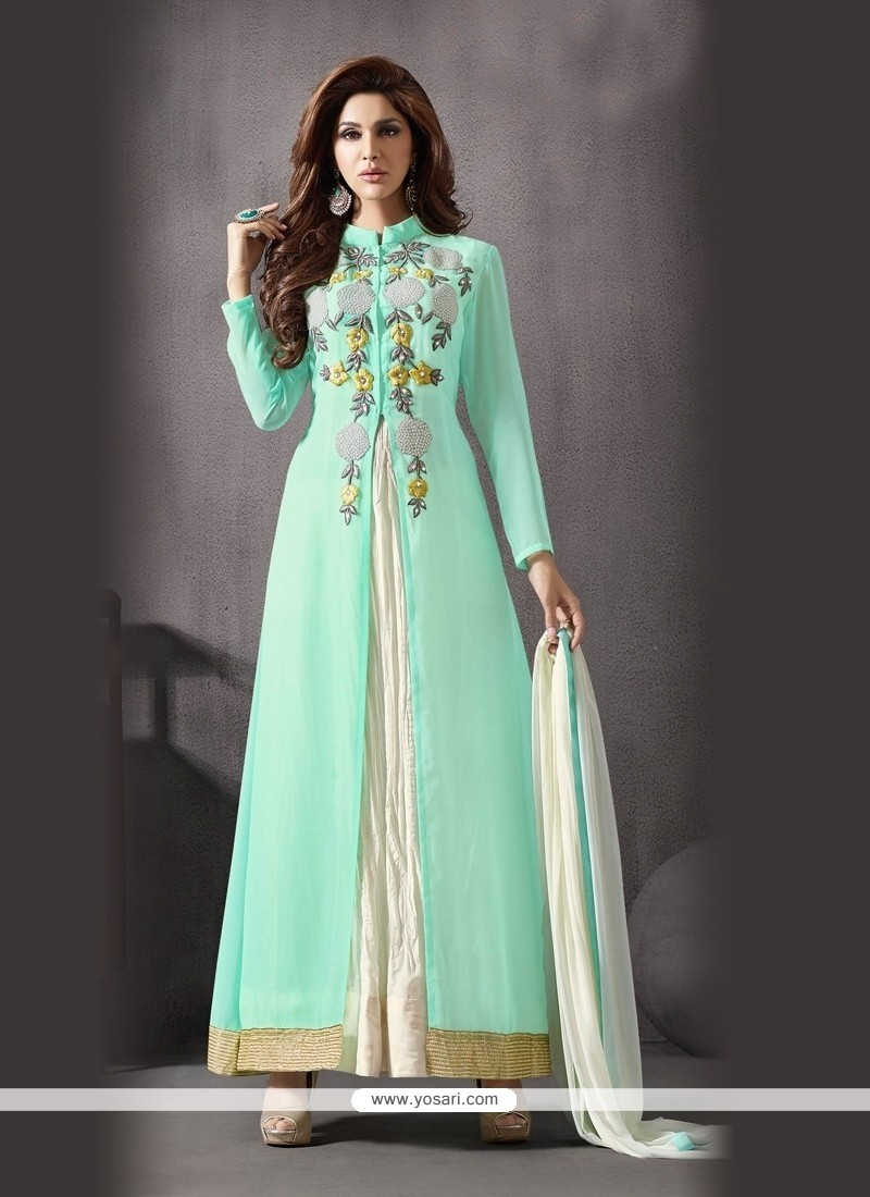 c0494b5bd2 Shop online Bedazzling Off White and Sea Green Georgette Designer Suit