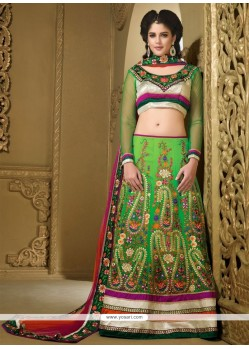 Pristine Green Chiffon Paisley Embroidered Lehenga Choli