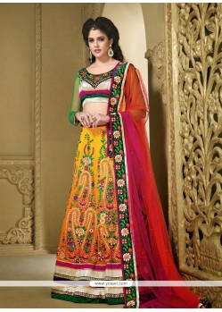 Observable Orange Chiffon Embroidered Lehenga Choli