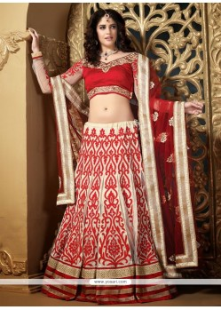 Incredible Cream Net Patch Work Lehenga Choli
