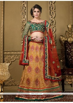 Radiant Orange Silk Jaal Work Lehenga Choli