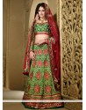 Opulent Green Silk Heavy Embroidered Lehenga Choli