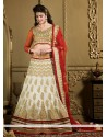 Natural Off White Silk Paisley Embroidered Lehenga Choli